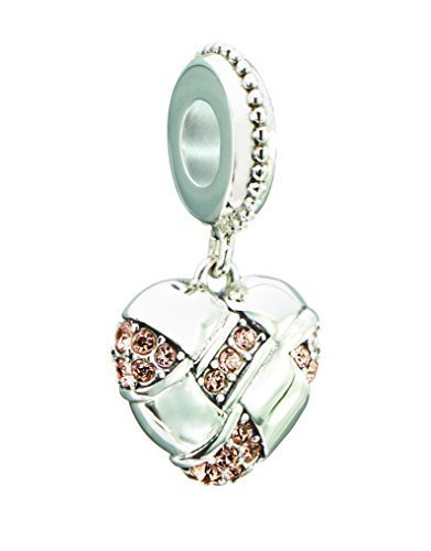 Authentic Chamilia Sterling Silver Charm Pave Woven Heart with Swarovski 2025-13