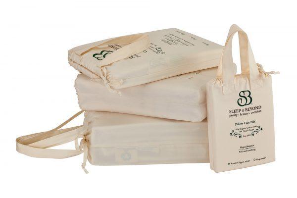 """100% Organic Cotton Sheet Set - Split King Up to 18"""""""