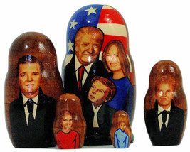 5pcs Handmade Russian Nesting Doll of President Trump & Family 4.25 inch... - $25.69
