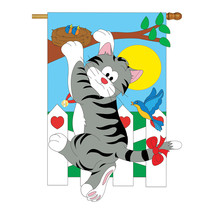 Climbing Cat - Applique Decorative House Flag - H110028-P2 - $40.97