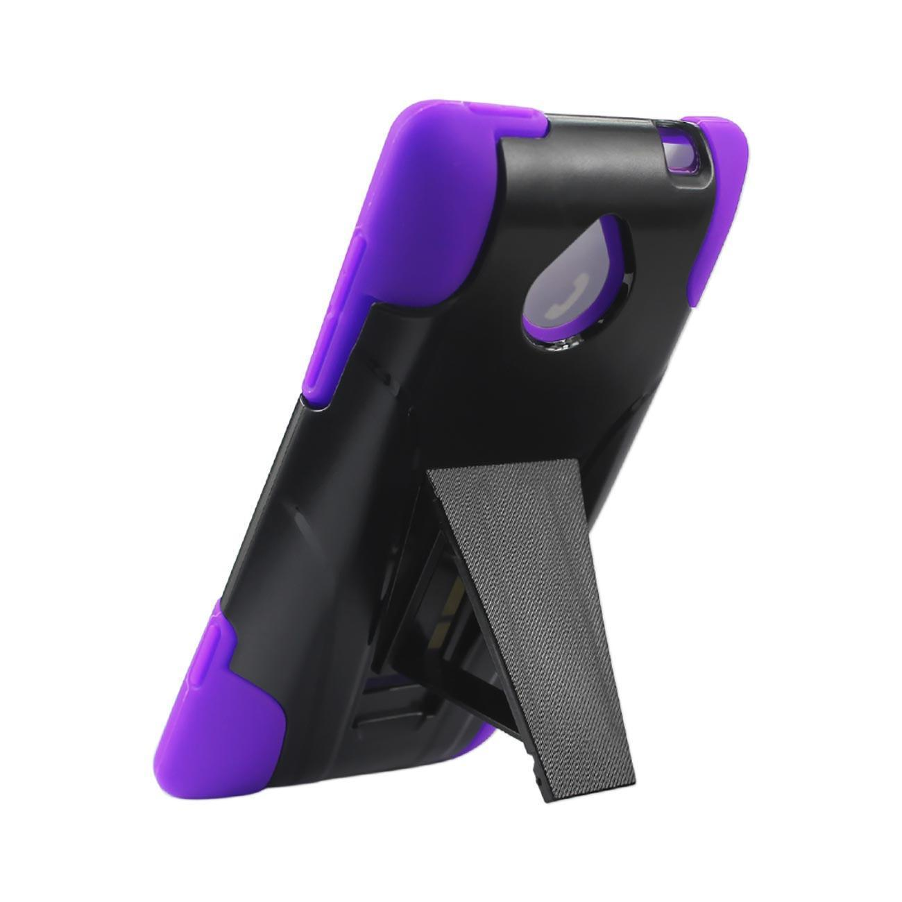 Reiko Htc 8xt Hybrid Heavy Duty Case With Kickstand In Purple Black