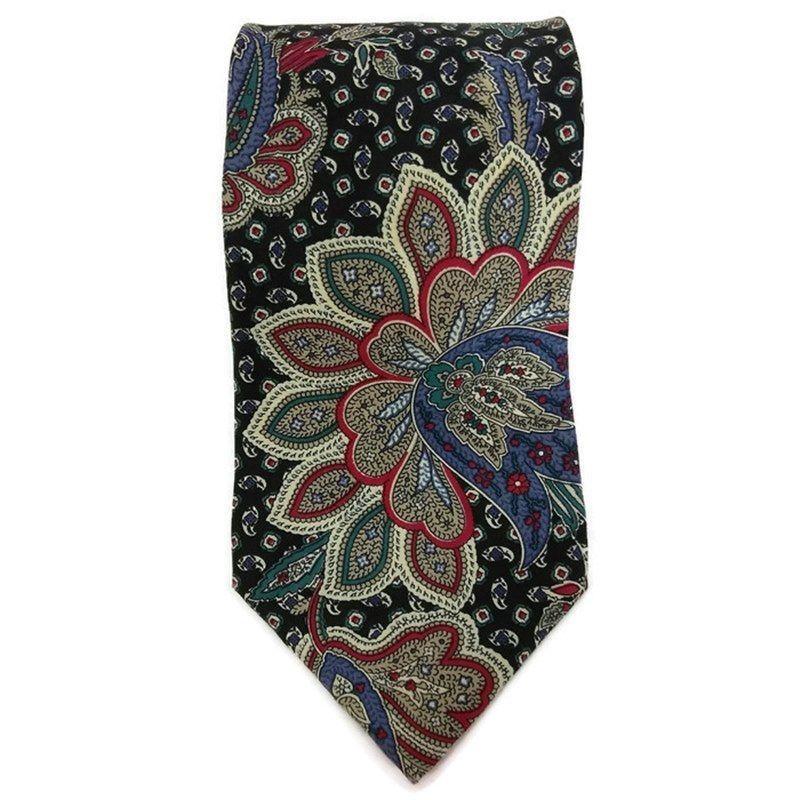 Zylos George Machado Mens Necktie Silk Paisley Black, Red Multi Color