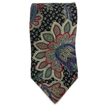 Zylos George Machado Mens Necktie Silk Paisley Black, Red Multi Color - $7.09