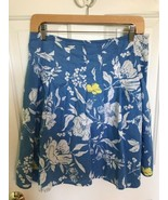 Old Navy Knee Length Skirt Pleats Blue White Cotton Low Waist SIZE 4 floral - $9.47