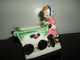 Little Girl Pushing Baby Carriage & Dog Figurine Planter Vintage Made in... - $89.17