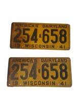 1941 Wisconsin License Plate Set Americas Dairyland image 1