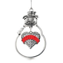 Inspired Silver Red Ribbon Support Pave Heart Snowman Holiday Decoration... - $14.69
