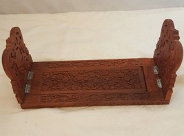 "Hand Carved Wood Retractable Book Ends Floral Pattern 24"" x 6"" x 7"" - $34.64"