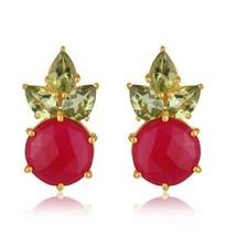 Pink Chalcedony Peridot 18K Gold Plated Silver Stud Earrings Gemstone Jewelry - $44.55