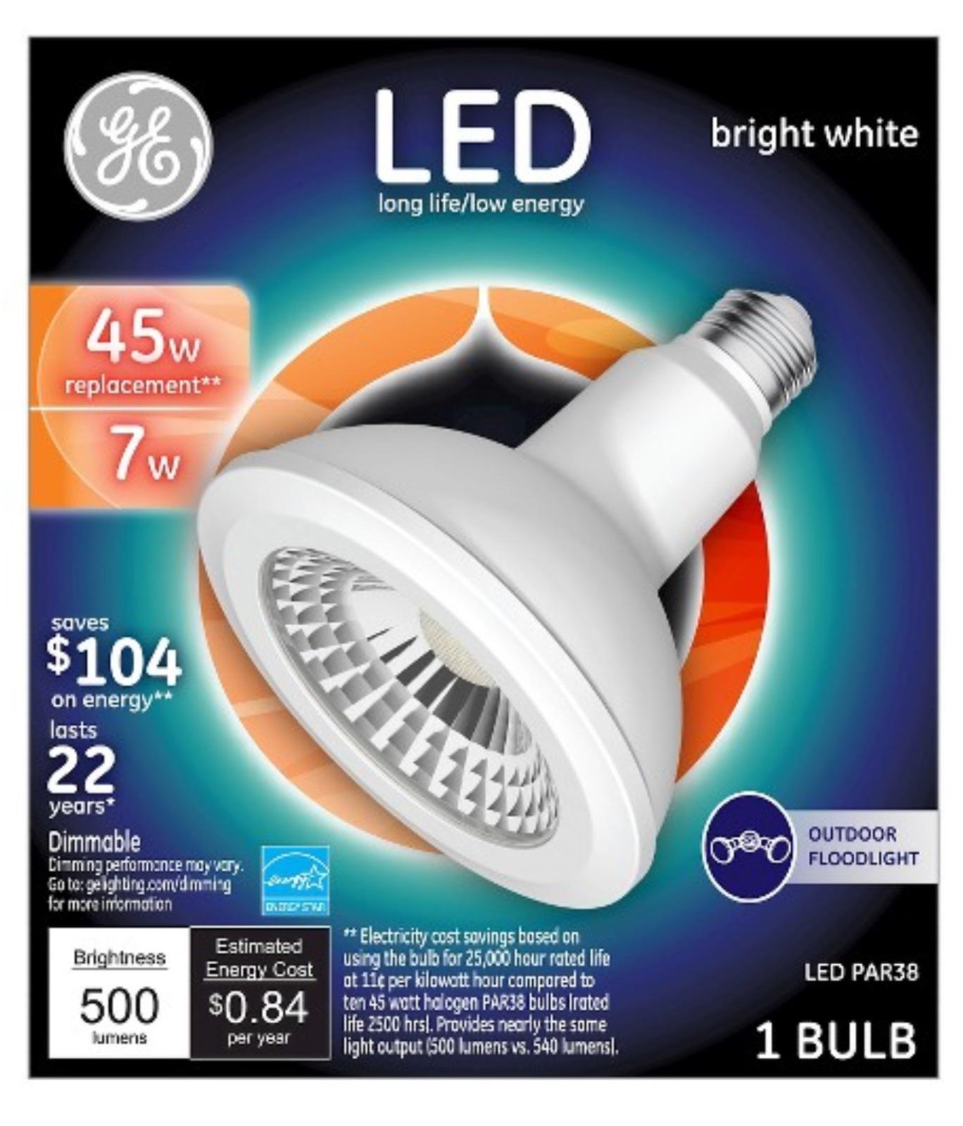 GE LED PAR38 Bright White 45W Dimmable Light Bulb (3000K) uses 7W (2 Bulb)  - $25.98