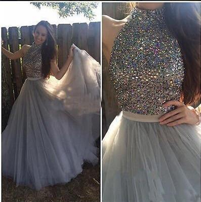 high neck Evening Dress,gray Prom Dress,A-line prom dress,tulle prom dresses