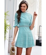 New turquoise blue cotton lace A line women short dress spring summer wh... - $47.00