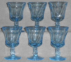 Set (6) Fostoria Glass JAMESTOWN BLUE PATTERN Glass Wine Stems - $39.59