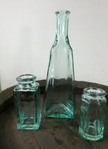 beautiful crude looking whittled looking green jars bottles vases  - $26.17