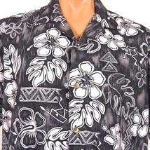 Hawaii Brand Hawaiian Shirt Mens XL Black White Hibiscus Monstera Petrog... - $23.36