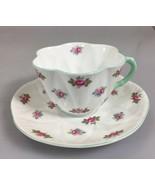 Shelley Dainty Rosebud Scalloped Edge Tea Cup and Saucer Bone China England - $57.33