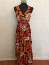 Cato Maxi Dress Womens S Orange Brown White Flo... - $28.04