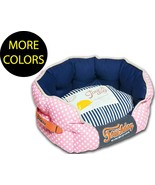 Polka-Striped Polo Rounded Circular Fashion Designer Pet Dog Bed Beds - $55.99+