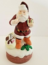 "Fine Bisque Porcelain Music Box Santa By Mann ""Santa Claus Is Coming to ... - $17.83"
