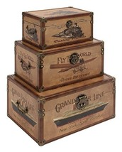Deco 79 Wood Leather Box, 17 by 15 by 12-Inch, Set of 3 - $88.67