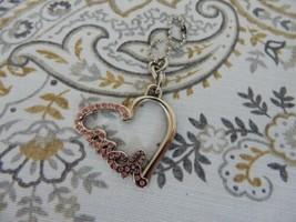 COACH Silver Cursive Heart ❤️Keychain Fob Hangtag Pink Stones - $23.75