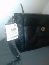 Giani Bernini Pebbled Genuine Black Leather Handbag Quilted Sides Crossbody Bag image 1