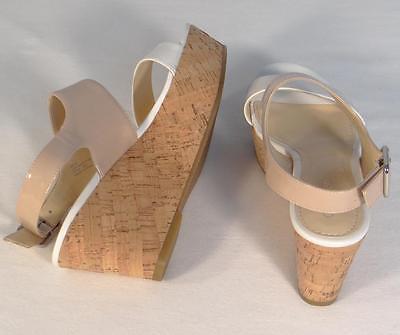 f1faca042e Calvin Klein Lorianne Nude & Antique White Patent Wedge Sandals Womans NEW