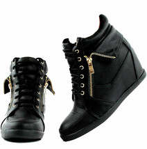 Top Moda Peter-30 Women's Fashion Sneakers Lace up Hidden Platform Wedge Bootie - $27.97