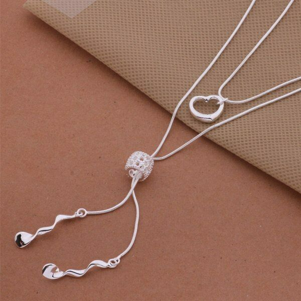 Primary image for Hanging Three Charms Necklace 925 Sterling Silver NEW
