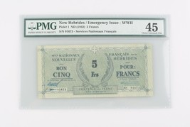 1943 NUEVO HEBRIDES 5 FRANCOS cxf-45 Emergency Issue II Guerra Mundial E... - $264.70
