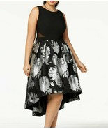 Xscape Women's Plus Size Floral Brocade High Low Gown Size 22W Black/Sil... - $45.54