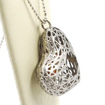 SILVER 925 NECKLACE, HEART CONVEX, SATIN, PERFORATED PENDANT, CHAIN BALLS image 2