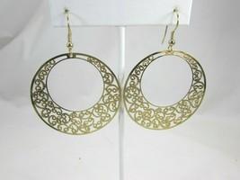 Vintage Goldtone Drop Hoop Earrings Filigree Gold Tone Dangle Pierced 50074 - $11.87