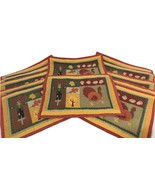 Thanksgiving Placemats Quilted Fall Colors Decor Set 12 Scarecrow Turkey Acorns - $34.65