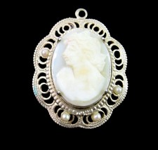 """Carved SHELL CAMEO Pendant in Silvertone Delicate Filigree Vintage Oval 1 1/8"""" - $22.99"""