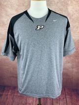 Nike Team Fit Dry Purdue University Football Shirt Heather Gray Black Me... - $12.50