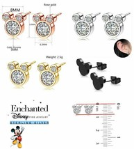 Girls Disney Mickey Mouse Ears 925 Sterling Silver Cubic Zirconia Stud E... - $9.99
