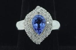 Art Deco Style JCR 14K White Gold Natural Tanzanite and Diamond Ring (Si... - $745.00