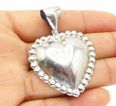 925 Sterling Silver - Vintage Fluted Trim Hollow Love Heart Drop Pendant - P7781 - $38.32
