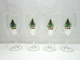 Nikko Christmas Glassware 10.5 oz All Purpose Goblet Lot of 4 In Box XMA... - $47.49