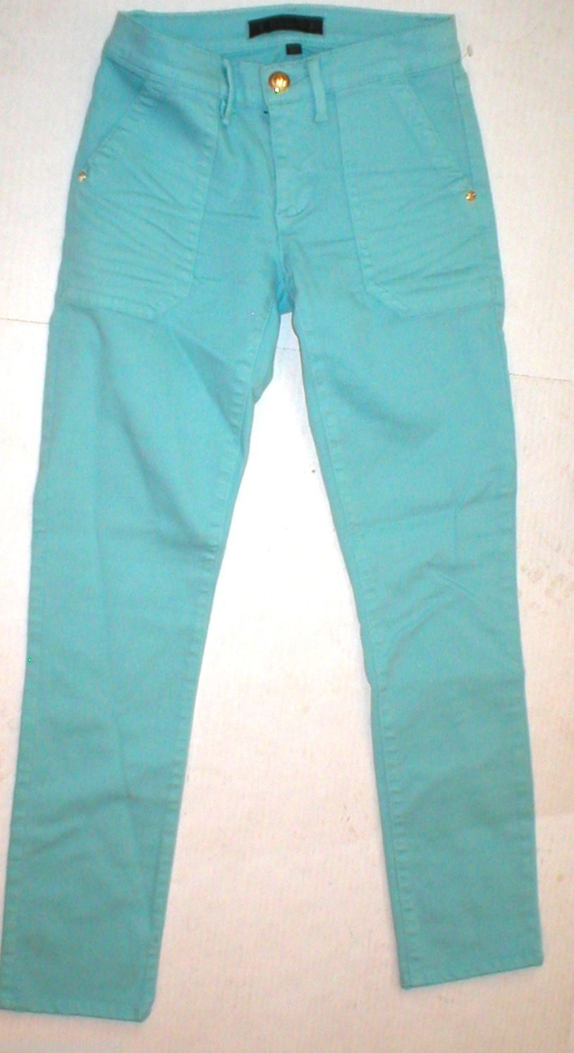 New Logo Crop Jeans Juicy Couture 25 Womens Snap Pockets Aqua Blue Teal Skinny image 6