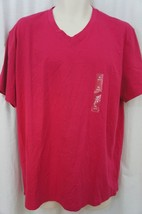 Alfani Mens T-Shirt Sz L Rhubarb Pink Cotton Slim Fit V-Neck Casual Tee ... - $12.09