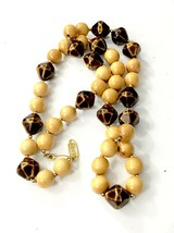 YSL Blond Wood & Brown Metallic Abstract Bead w Goldtone Bead Long Necklace - $280.33