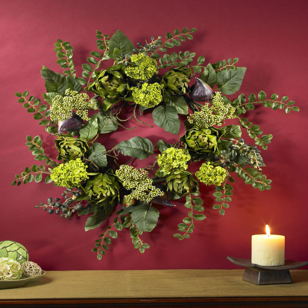 """Nearly Natural 20"""" Artichoke Floral Wreath  Item Number: 4684"""