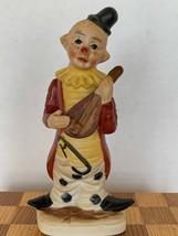 "Vintage Hand Painted Bisque Porcelain Mandolin Musician Clown Figurine 6"" - $15.00"