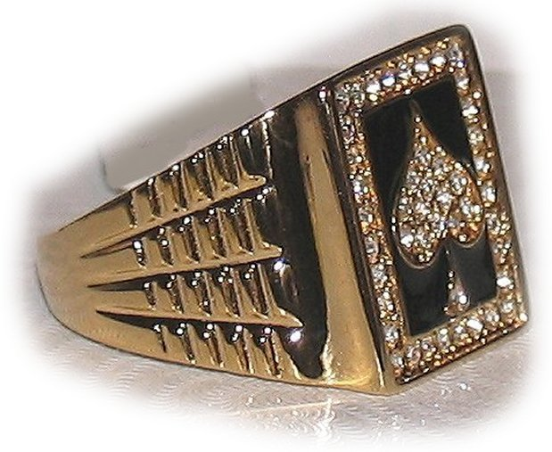 Ace Spades Iced Men's Bling Ring Size 13 New