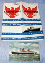 S.S. United States Cruise Ship Cabin Class Deck Plan 1958 - $24.95