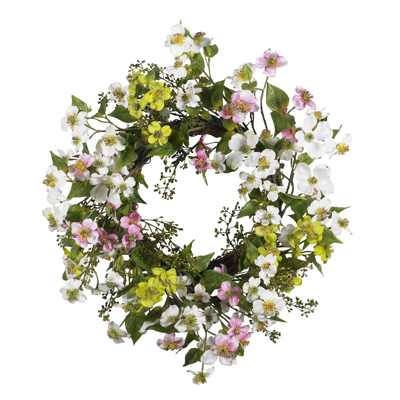 """Nearly Natural 20"""" Dogwood Wreath  Item Number: 4688"""