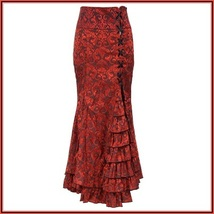 Renaissance Red Lace Up Brocade Layered Tulle Waterfall Lace Mermaid Skirt  - $109.95