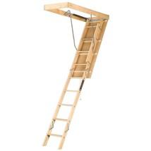 Wood Attic Ladder Folding Ceiling 8 ft 9 in 10 ft Durable Heavy Duty Adj... - $141.57